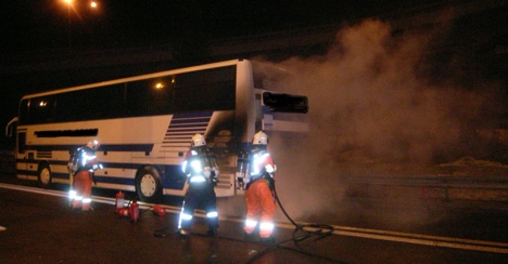 Ski bus carrying 38 children catches fire