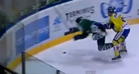 Vicious hit leaves Swiss hockey player paralyzed