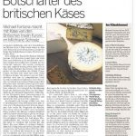 """A feature in the Swiss paper NZZ am Sonntag in which Michael Fontana-Jones is dubbed the """"British Cheese Ambassador"""".Photo: Michael Fontana-Jones"""