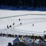 """If you're bored with conventional horse-racing, then a trip to St Moritz may be just the ticket. The Swiss holiday resort is home to the popular White Turf SKIJORING event, in which  thoroughbred horses pull people on skis over a frozen lake each winter. The competitor with the most points is crowned """"King of the Engadin Valley"""", earning bragging rights, surely, in the swish resort's best watering holes.Photo: Cesar e Camilla/Flickr"""