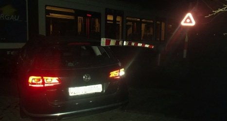 Train crashes into car driven by 'lost drunk'