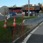 A photo showing how the barrier acted as a ramp, sending the car hurtling through the air.Photo: Swiss Border Guard