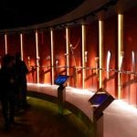 A display of Olympic torches forms part of 'the world' theme.Photo: Caroline Bishop