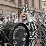 Costumed drummers with band at Basel's Fasnacht (carnival) Photo: Basel Tourism