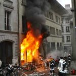 Fire guts bookstore in Fribourg's city centre