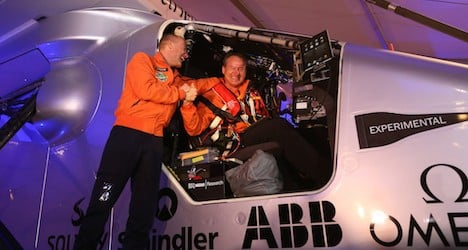 Swiss solar plane touches down in Oman