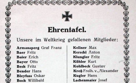 A commemorative list of names of FC Bayern players who died in the First World War. Photo: Jewish Museum