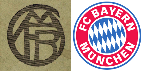 The club logo in 1925 and 2015. Photo: Jewish Museum and Wikimedia Commons