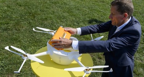 Swiss postal service shows off delivery drone