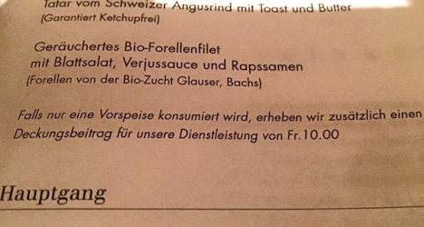 Zurich eatery charges fee for skipping main course