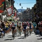 The Tour de France peloton starts its stage 17 journey in Bern on the hottest day of the year so far. Photo: Jeff Pachoud/AFP