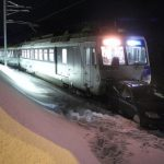 Train smashes into car in snow on Swiss railway line