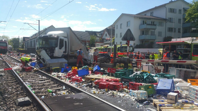 Zurich rail services disrupted after lorry collides with train