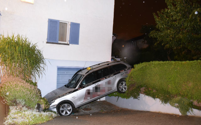 Austrian family steal Swiss taxi and crash into parked boat