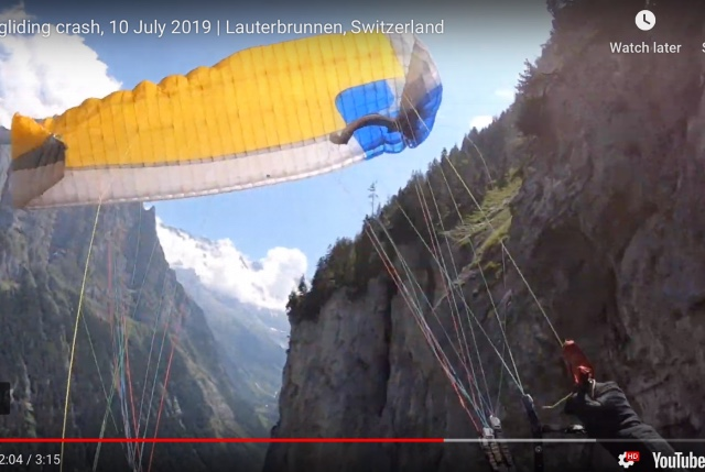 WATCH: American paraglider crashes into cliff face in Swiss Alps