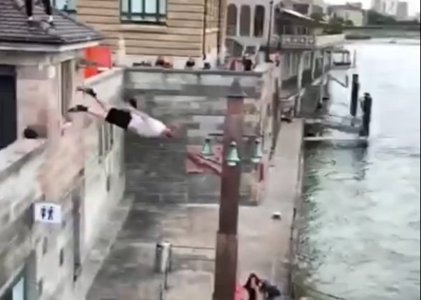 WATCH: UK athlete's crazy jump into Rhine in Basel