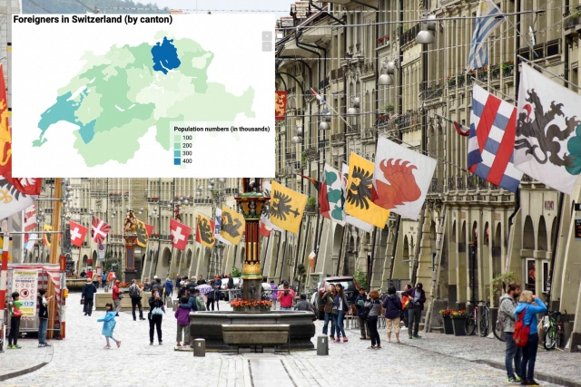 Where in Switzerland do all the international residents live?