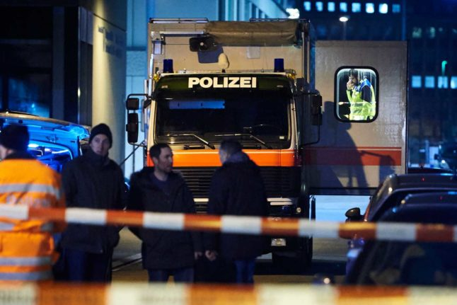 Police after an incident in the centre of Zurich.